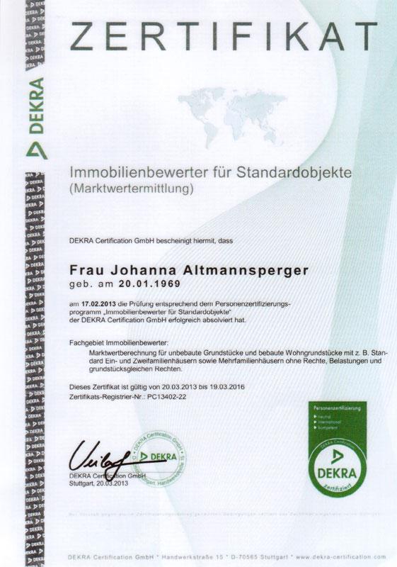 Immobilienbewerter für Standardobjekte - Johanna Altmannsperger