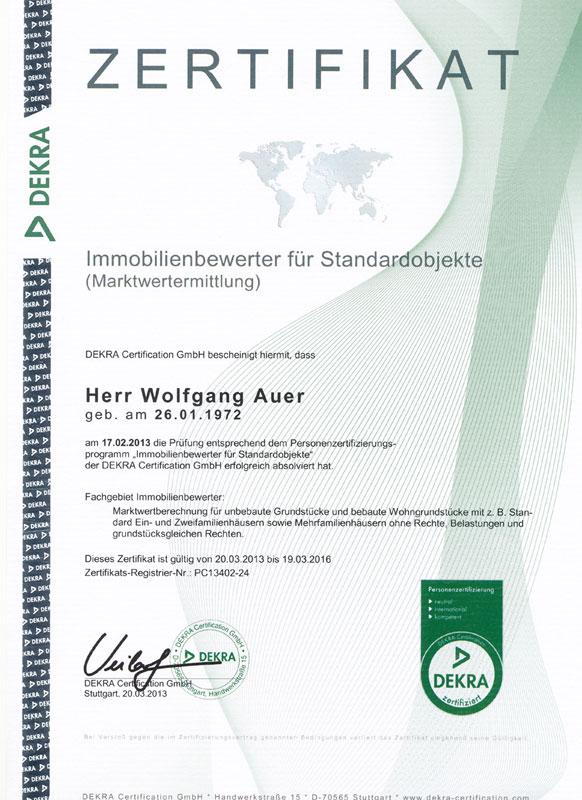 Immobilienbewerter für Standardobjekte - Wolfgang Auer