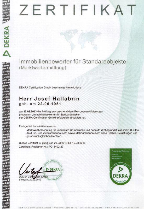 Immobilienbewerter für Standardobjekte - Josef Hallabrin