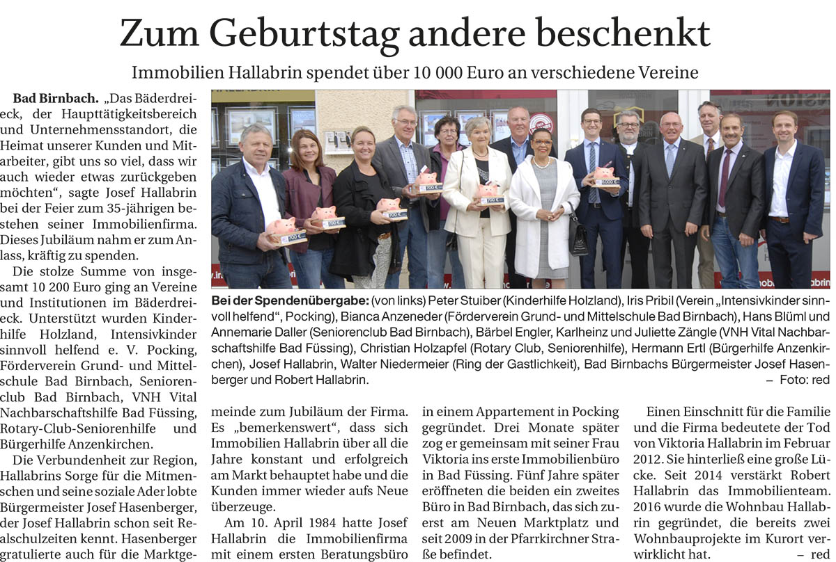 Immobilien Hallabrin - 30.05.2019 Presseartikel zum 35 jaehrigen Firmenjubilaeum